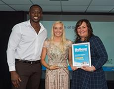 Danielle Knowles – Wigan Vipers Cheer and Dance receives her award from Taekwondo World Champion Mahama Cho and Nicola Stevenson from Link Contracting Ltd.