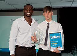 Apprentice of the Year: Thomas Little – Wigan Athletic Community Trust receives his award from Taekwondo World Champion Mahama Cho.