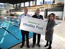Andy Watmough, Head of Sport and Leisure for Inspiring healthy lifestyles -Leader of Wigan Council, Cllr David Molyneux and Director of Public Health for Wigan Council, Prof Kate Ardern at Hindley Pool.