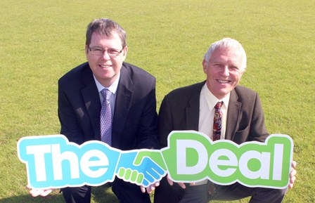 Andy Wiggans (chairman for WLCT) and Cllr Paul Kenny at Howe Bridge and Robin Park
